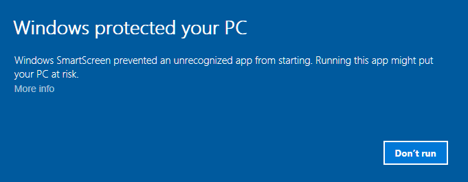 Windows 10 blocking the program